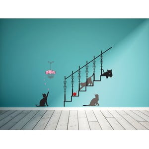 Naklejka Ambiance Cats, stairs and rose petals
