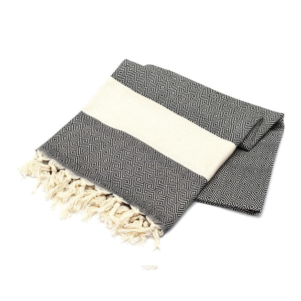 Ręcznik hammam American Stripes White & Black, 100x180 cm