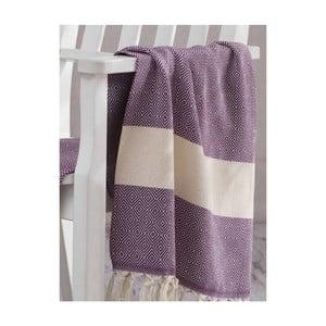 Fioletowo-biały ręcznik Hammam Elmas, 100x180cm