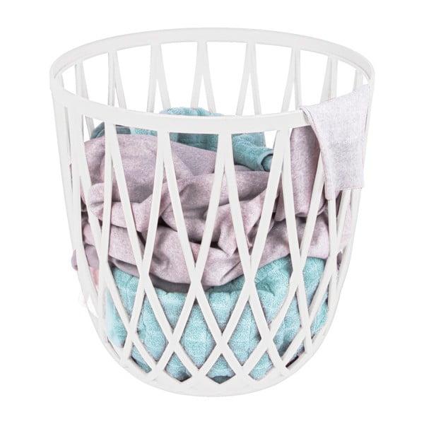 Biały kosz na pranie i taboret w jednym Wenko Omio, 38 l