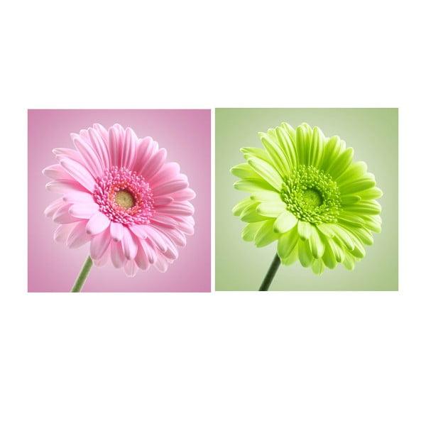Zestaw 2 obrazów na szkle Kwieciście, 30x30 cm
