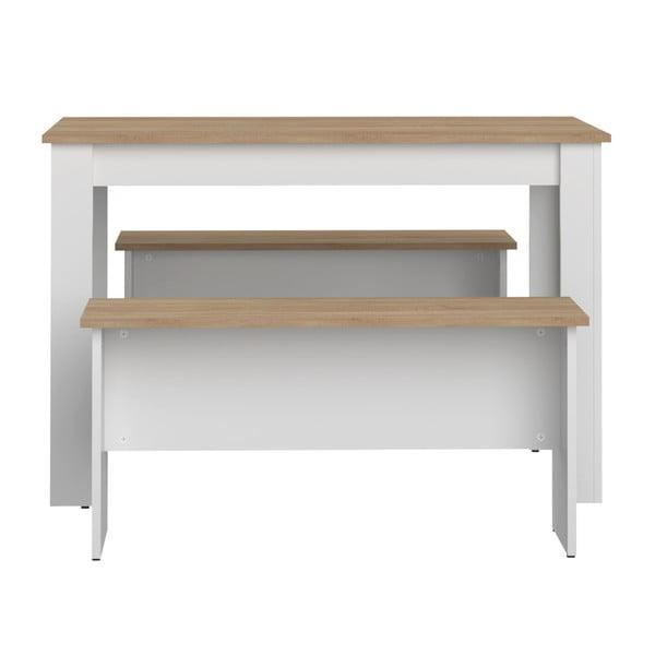 Komplet białego stołu i 2 ławek z blatem z dekorem drewna bukowego Symbiosis Nice