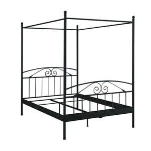 Czarne łóżko dwuosobowe z baldachimem Støraa Bibi, 180x200 cm