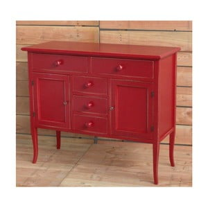 Czerwona 2-drzwiowa komoda drewniana z 5 szufladami Castagnetti Eloise