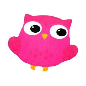 Dywan Owls - różowa sowa, 66x66 cm