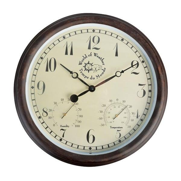 Brązowy zegar ogrodowy z termometrem Ego Dekor Minute