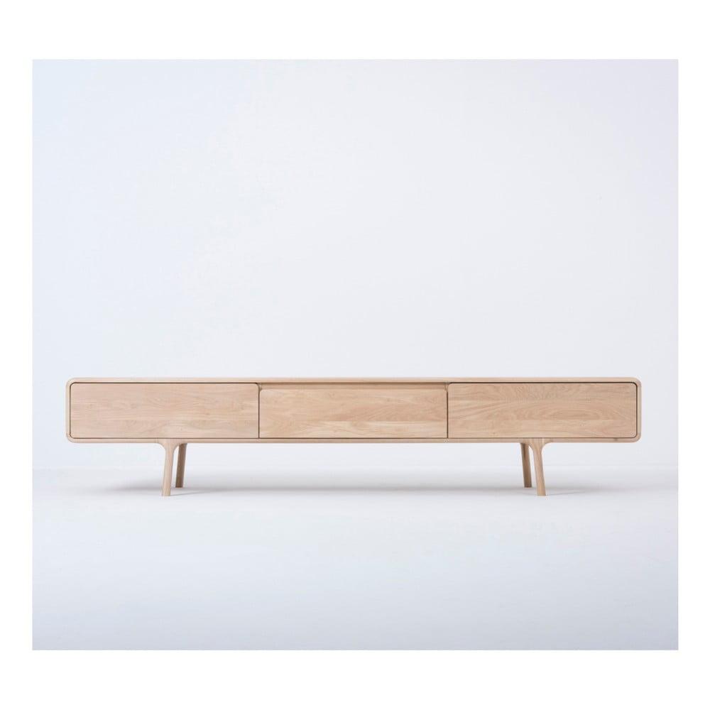 Szafka pod TV z litego drewna dębowego z 3 szufladami Gazzda Fawn