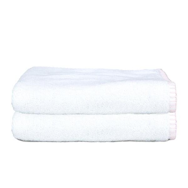 Zestaw 2 ręczników Whyte 50x90 cm, biało-różowy