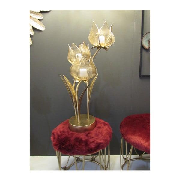 Żelazny świecznik na 3 świeczki w kolorze złota Mauro Ferretti Flowery, wys.66 cm