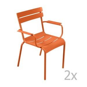 Zestaw 2 pomarańczowych krzeseł z podłokietnikami Fermob Luxembourg