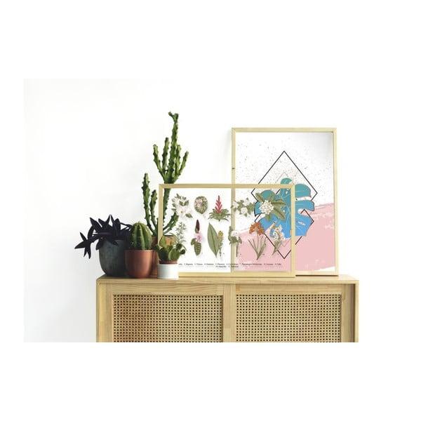 Obraz w ramie z drewna sosnowego Surdic Botanical Flowers, 50x70 cm