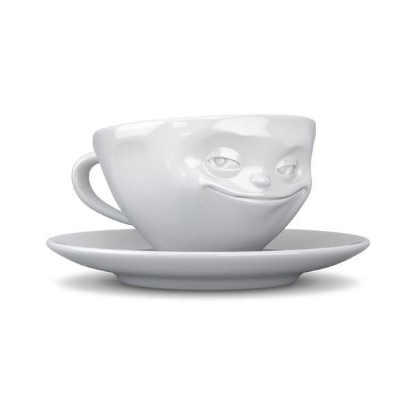 Biała uśmiechnięta filiżanka do espresso 58products