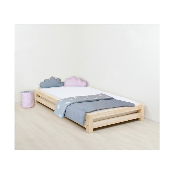 Łóżko 1-osobowe z drewna sosnowego Benlemi JAPA Natural, 80x200 cm