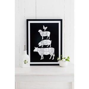 Czarny plakat Follygraph Meat Cuts, 21x30cm