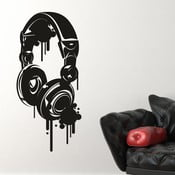 Naklejka ścienna Headphones, czerń