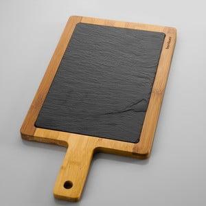 Deska do serwowania z kamienia i bambusu Bambum Lena, 43x23 cm
