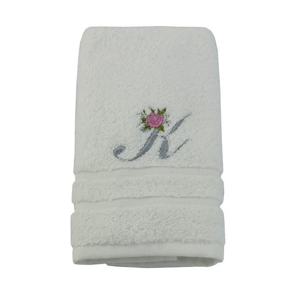 Ręcznik z inicjałem i różyczką K, 50x90 cm