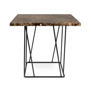 Brązowy stolik marmurowy z czarnymi nogami TemaHome Helix, 50 cm