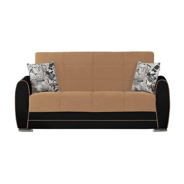 Beżowo-czarna dwuosobowa sofa rozkładana ze schowkiem Esidra Rest
