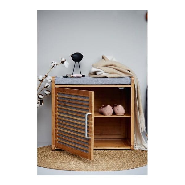 Bambusowa szafka na buty z ławką do łazienki Wenko Bahari