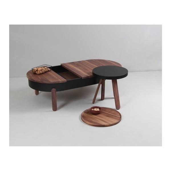 Brązowy stolik z drewna dębowego ze schowkiem Woodendot Batea L
