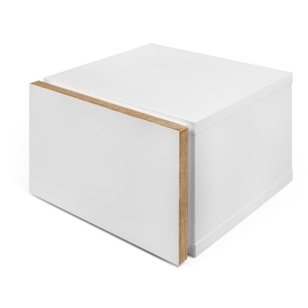 Biała szafka nocna z brązowymi krawędziami TemaHome Float