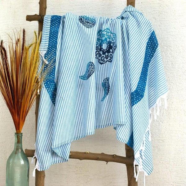 Ręcznik hamam Striped Turquoise, 90x180 cm