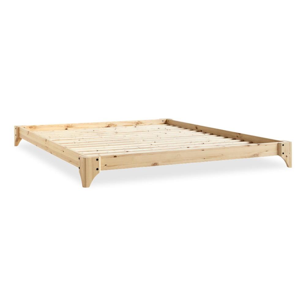 Łóżko dwuosobowe z drewna sosnowego z materacem Karup Design Elan Comfort Mat Natural/Natural, 140x200 cm