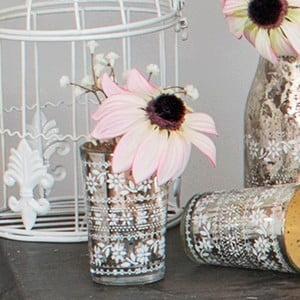 Szklany wazon ze sztucznymi kwiatami Susan, 15 cm