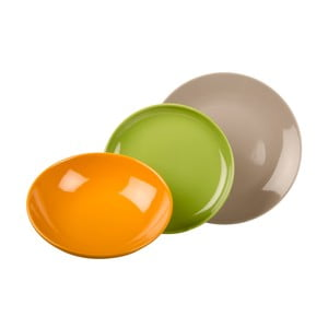 18-częściowy komplet talerzy Kaleidos, pomarańczowo-zielono-szary