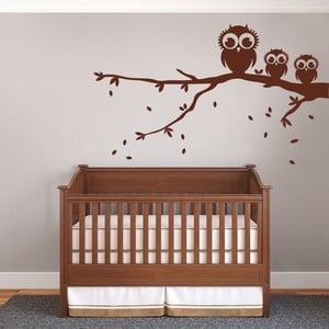 Naklejka dekoracyjna na ścianę Trzy sowy na gałęzi, brązowe