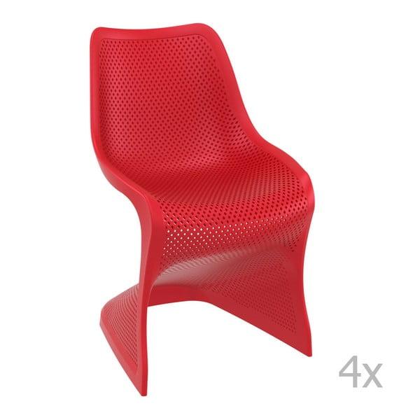 Zestaw 4 czerwonych krzeseł ogrodowych Resol bloom