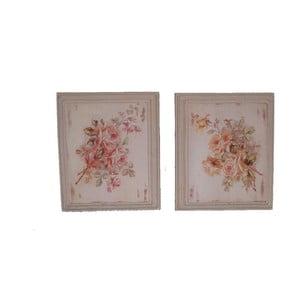 Zestaw 2 obrazów Antic Line Roses, 25,5x36,5cm