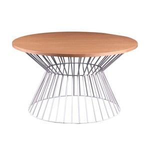 Biały stolik z blatem w dekorze drewna dębowego sømcasa Hugo