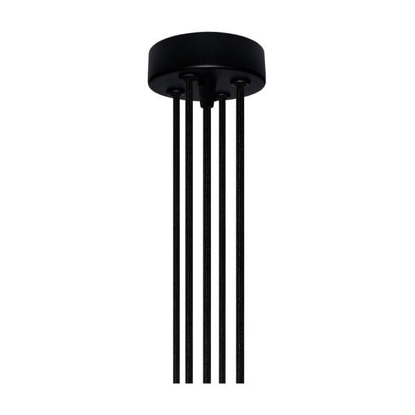 Lampa wisząca z 5 czarnymi kablami i oprawą żarówki w kolorze miedzi Bulb Attack Uno Group