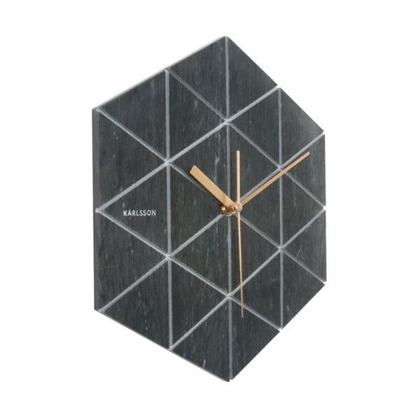 Czarny zegar marmurowy Karlsson Marble Hexagon