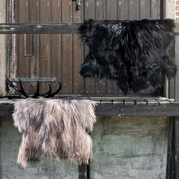 Skóra dekoracyjna z kozy mongolskiej Black, 110x80 cm