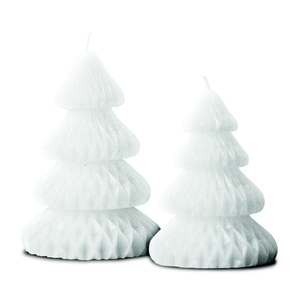 Zestaw 2 świeczek Candle Tree White