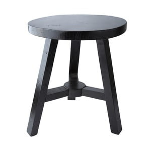 Drewniany taboret, czarny, 38,5 cm