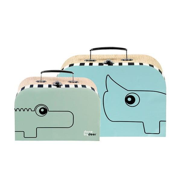 Zestaw 2 kuferków Suitcase, niebieskie