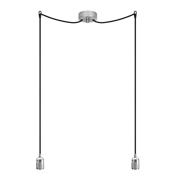 Lampa wisząca podwójna Uno, srebrny/czarny/srebrny