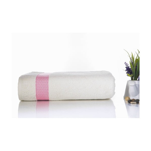 Różowo-biały ręcznik kąpielowy z bawełny Ladik Alice, 70x140 cm