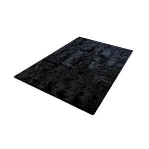 Czarny dywan z króliczej skóry Pipsa Blanket, 180x120 cm