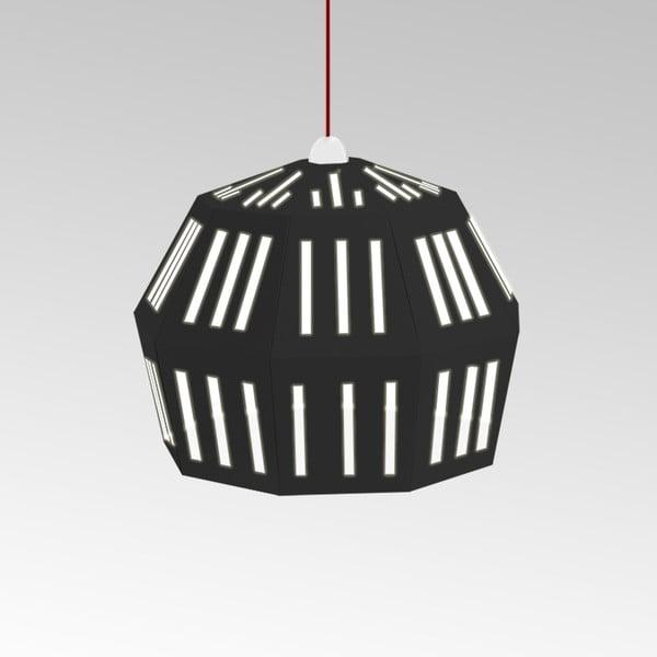 Kartonowa lampa Uno Fantasia C Black, z czerwonym kablem