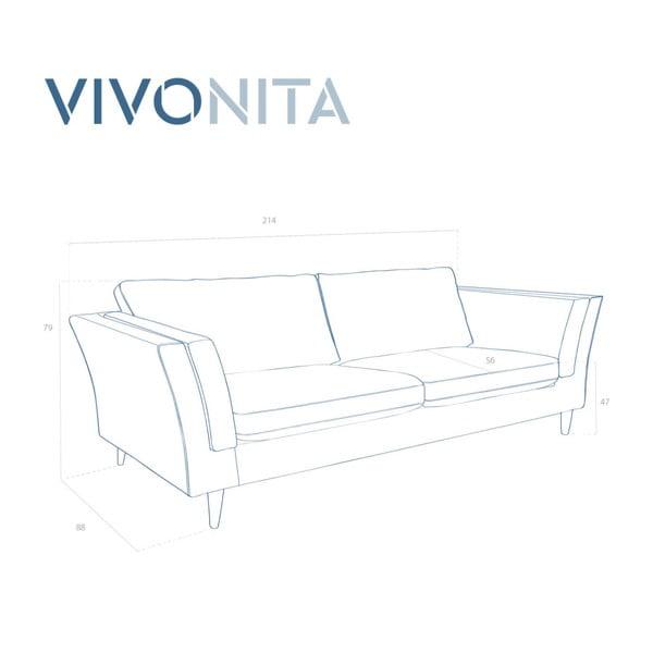 Różowa sofa trzyosobowa Vivonita Connor