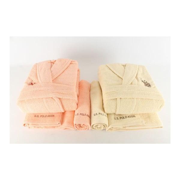 Komplet 2 szlafroków i 4 ręczników US Polo Yellow Pastel