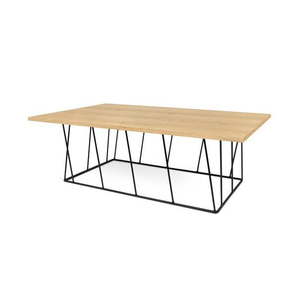 Dębowy stolik z czarnymi nogami TemaHome Helix, 120 cm