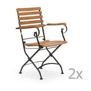 Zestaw 2 czarnych krzeseł ogrodowych z drewna akacjowego z podłokietnikami SOB