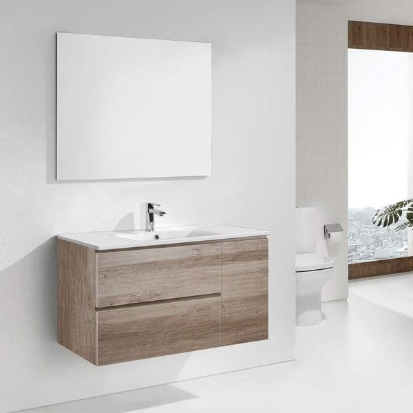 Szafka do łazienki z umywalką i lustrem Happy, motyw dębu, 100 cm