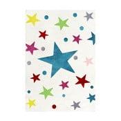 Biały dywan dziecięcy z kolorowymi gwiazdami Happy Rugs Stars, 80x150 cm